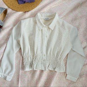 Vtg 80s Cropped Lace Button Down Blouse S M